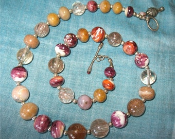 Spiny oyster, natural purple shell beads, rutilated quartz necklace
