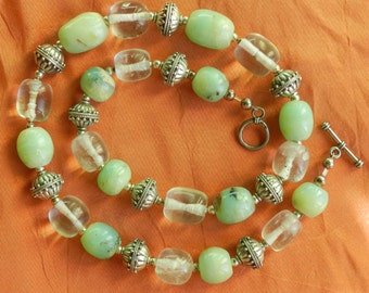 Peruvian Opals, Quartz Crystal and Sterling silver beaded Necklace