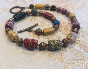 African trade beads vintage necklace