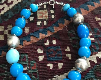 old Dutch vintage blue beads with sterling silver