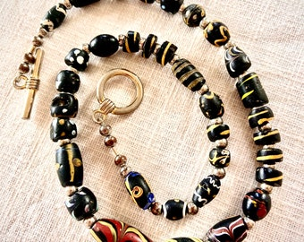 Black Venetian Beads Necklace