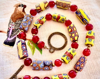 Ethnic Venetian Trade Beads and Red Bohemian glass beads in bright necklace