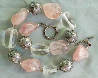Rose Quartz, Sterling Silver,  Crystal Quartz Choker