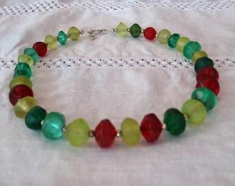 Vintage Vaseline beads necklace.  Happy Happy