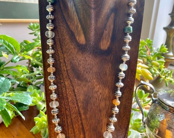 Long Sterling silver beaded necklace with gemstone beads