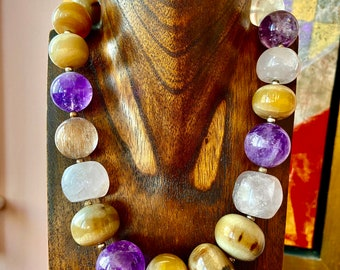 African beads and amethysts and rose quartz designer necklace