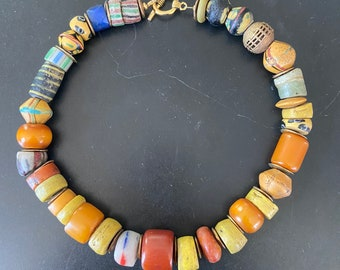 Spectacular old Italian trade beads and amber necklace