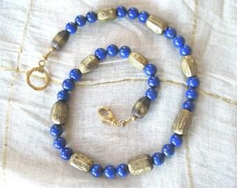 Lapis lazuli and antique Ethiopian brass bead necklace