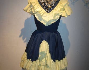 Vintage Navy Blue & Yellow Mega Ruffles Square Dance Dress