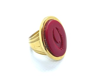 1 Gold Plated  Brass Duke Adjustable Ring Setting with 2 Holes Duke Ring Settings Pad Size 12mm E385 Q542