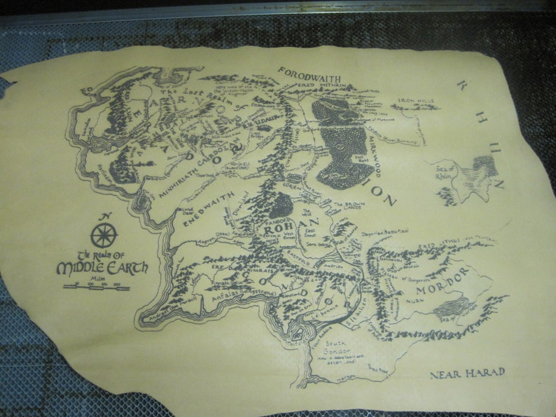 Middle Earth Map Large.Large Leather Middle Earth Map Etsy