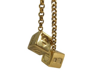 Stainless Steel Smuggler's Golden Dice - Scoundrel Gambler Rogue - Gold Plated Stainless Steel Dice - Mirror charm for your cockpit