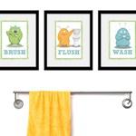 Kids Bathroom Art - Three 8 x 10 Bathroom Monster Prints, Nursery Decor, Kids Wall Decor, Children Wall Art