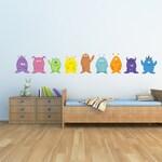 Cute Monster Art Childrens Wall Decals  -  9 Piece Monster Art Decal Childrens Decor -  Childrens Wall Art Nursery Art