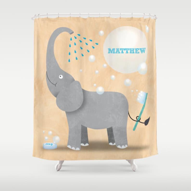 Elephant Shower Curtain Children's Bathroom Personalized image 0
