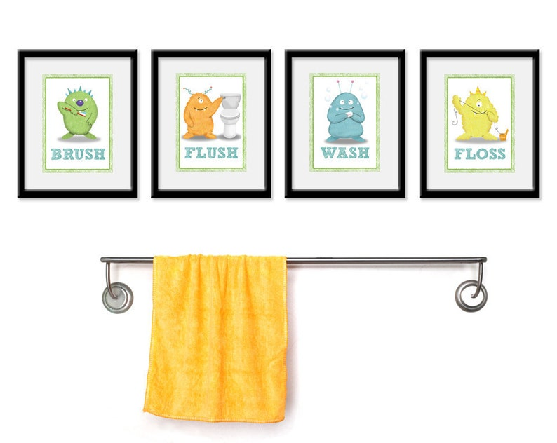 Kids Bathroom Art  Children's Wall Decor Monsters for the image 0