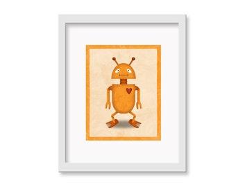 """Robot Print """"Oscar"""" - 11"""" x 14"""" Children's Decor Wall Art Print - Children's Retro Robot Theme Room Decor"""
