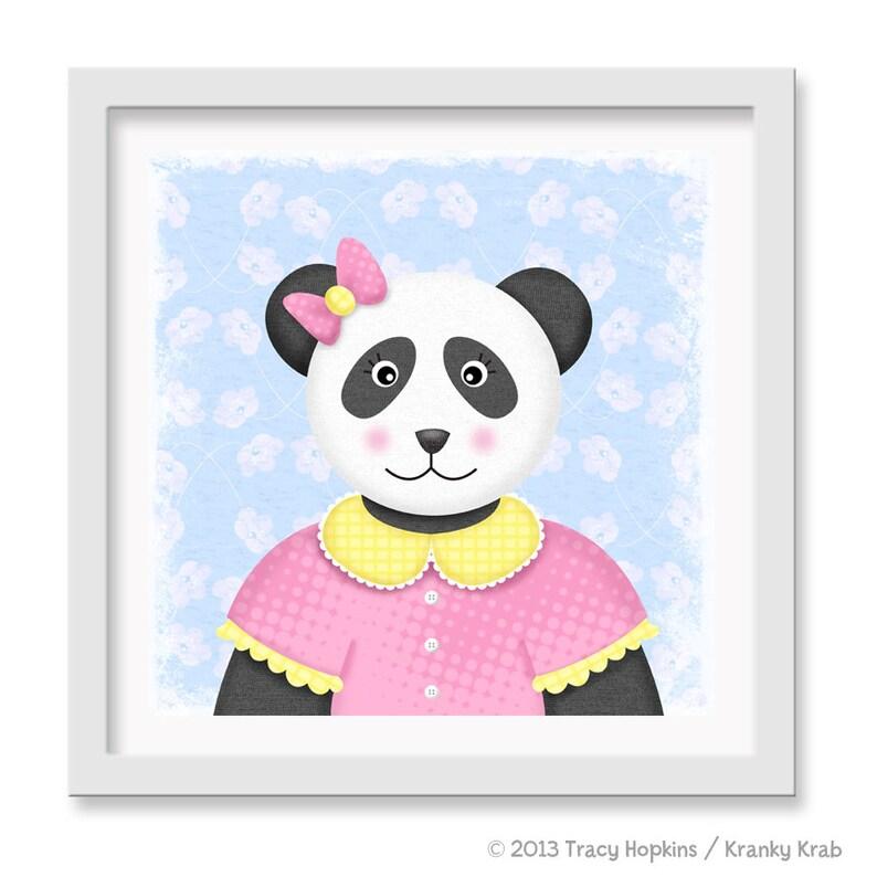 Panda Bear Nursery Art Teddy Bear Wall decor 12 x 12 image 0