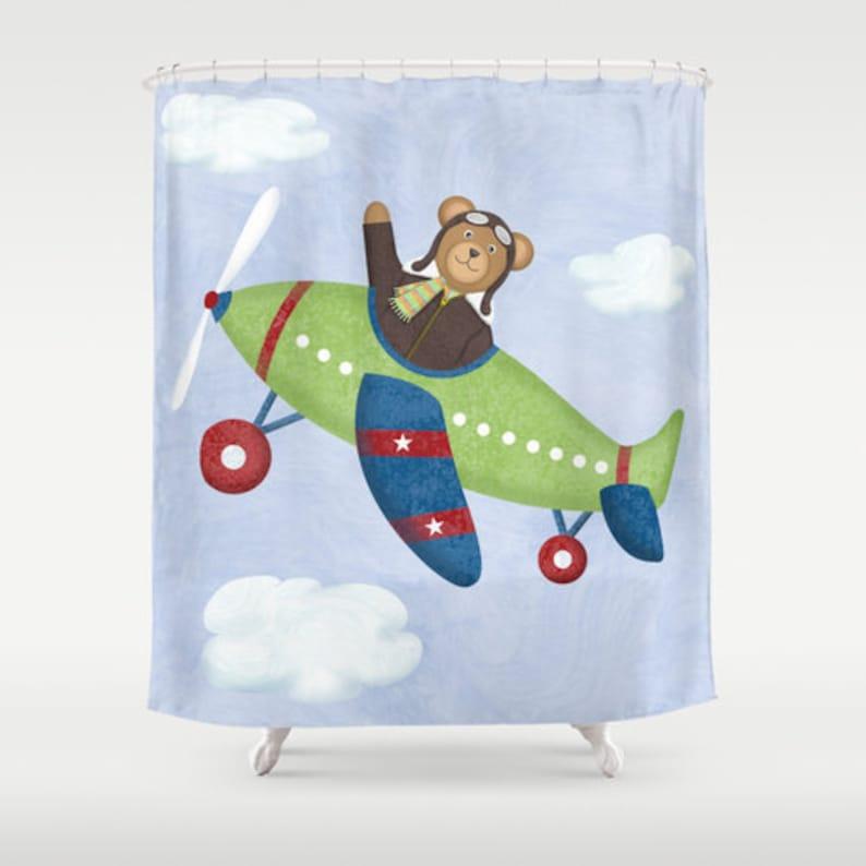 Airplane Teddy Bear Shower Curtain Children's Bathroom image 0
