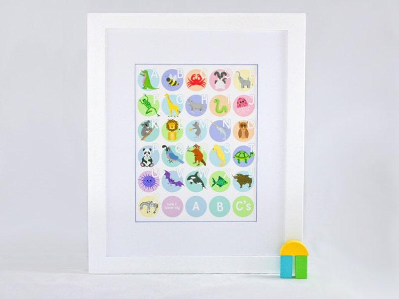 Kids Animal Alphabet Poster  Alphabet Nursery Art  Pastels  image 0