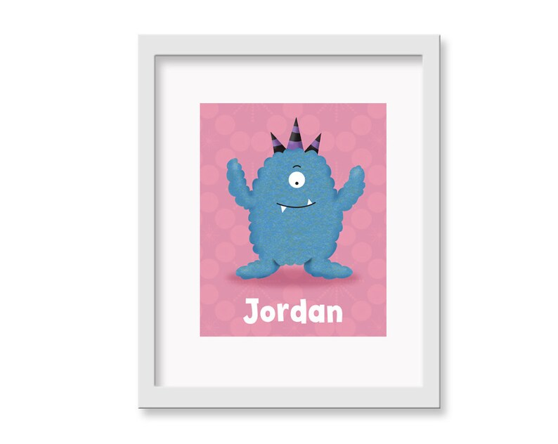 Personalized Monster Art  Personalized Fluffy Cute Monsters image 0