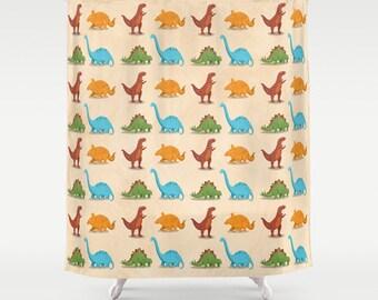 Dinosaur Shower Curtain, Little Boy's Bathroom, Kids Bathroom Decor, Dinosaur Bathroom