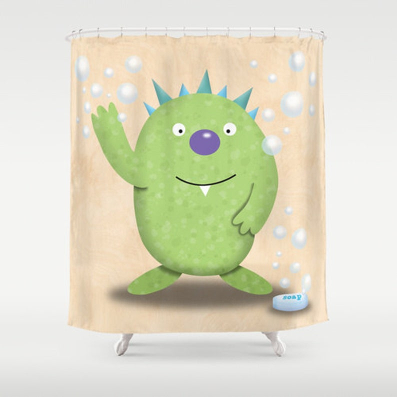 Monster Shower Curtain Little Boys Bathroom Kids Decor Childrens Bath