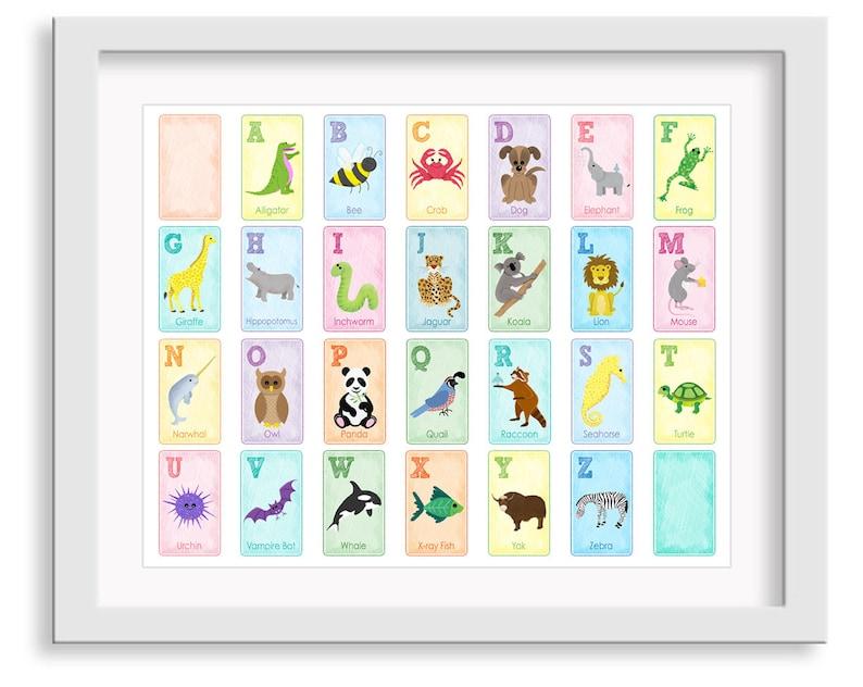 Alphabet Animal Poster  Alphabet Nursery Art  Animal image 0