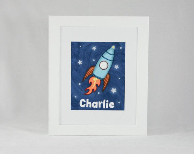 Kids Wall Art  Space Theme Rocket Ship Child Decor 8 x 10 image 0