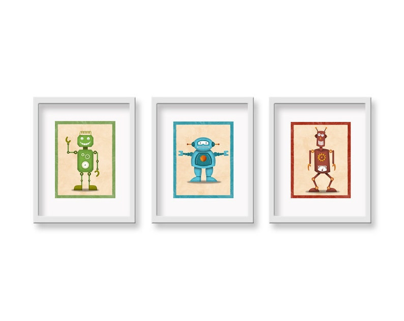Retro Robot Art  CHOOSE THREE 8 x 10  Childrens Robot Wall image 0