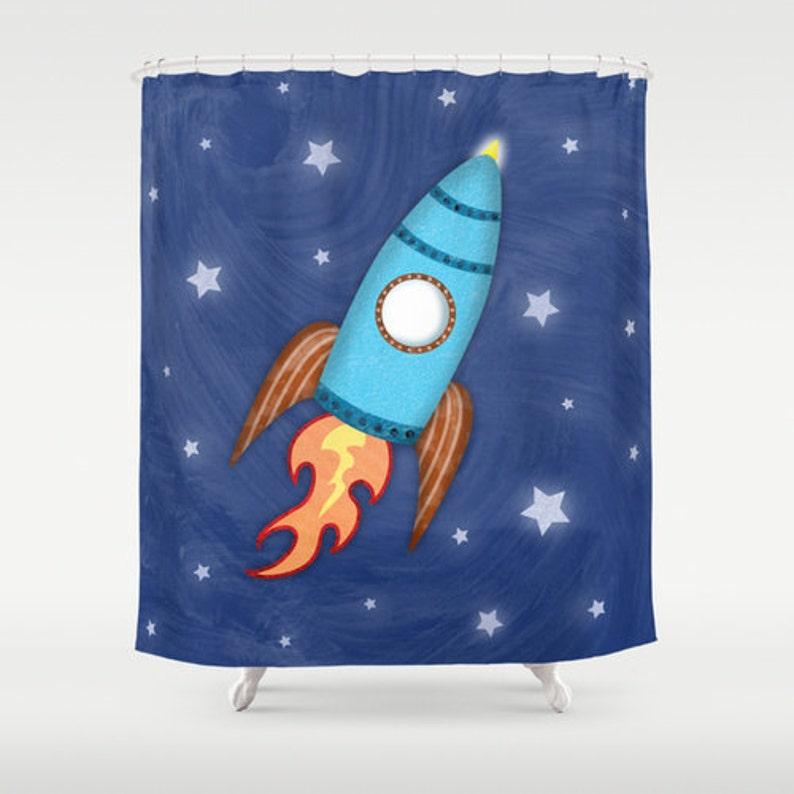 Rocket Ship Shower Curtain Children's Bathroom Kids image 0
