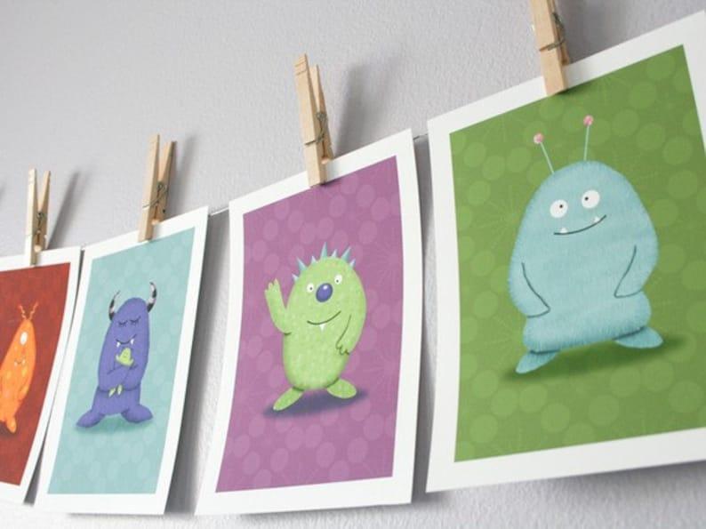 Monster Children Wall Art  Set of 6 Monsters You Choose  5 image 0