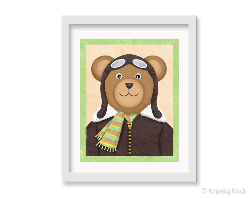 Aviator Bear Nursery Print  Art for Kids Room  8 x 10 Pilot image 0