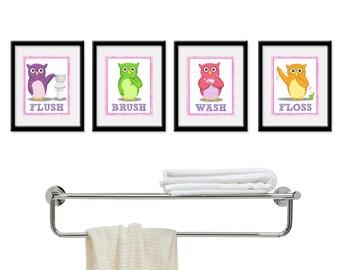 Kids Bathroom Art - Children's Girls Wall Decor Owls for the Bathroom - Kids Bathroom Decor art - Four 8 x 10  Bathroom Owl Child Prints