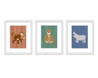 Children Animal Art - 3 print set - Jungle Safari Kids Wall Decor- Retro colors - 5 x 7  Prints, Children Decor