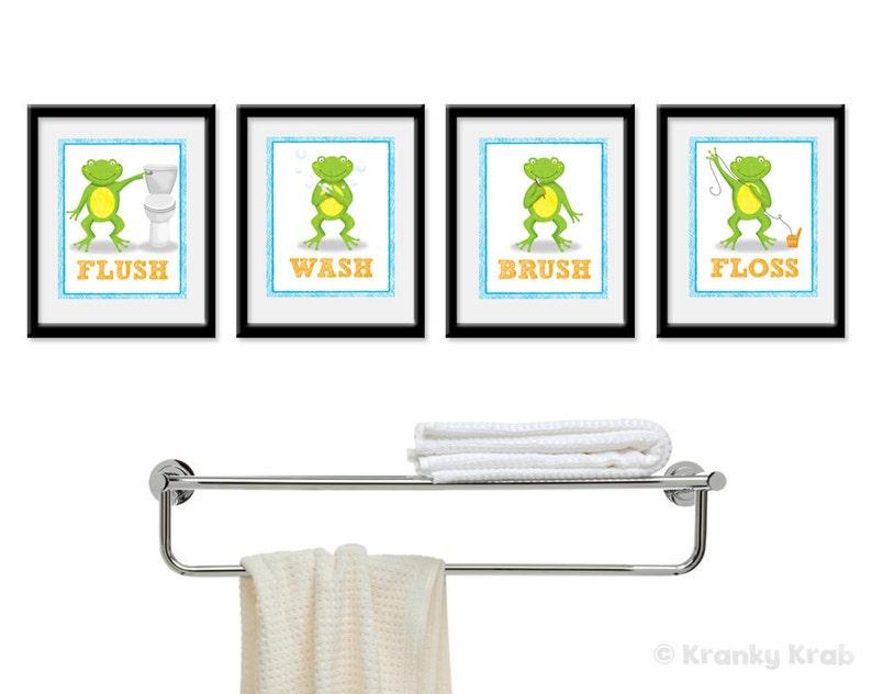 Frog Bathroom Decor  Set of Four Bathroom Decor Prints  frog image 0