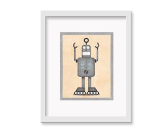 """Robot Print """"Frank"""" - 11"""" x 14"""" Children's Decor Wall Art Print - Children's Retro Robot Theme Room Decor"""