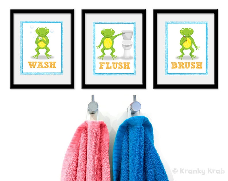 Kids Bathroom Art  Frog Theme Bathroom Prints  Set of Three image 0