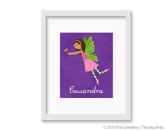 Fairy Princess Little Girl Art -  Children's Decor Nursery Wall Art - Butterfly Fairy Wall Art African American - 8 x 10 Print
