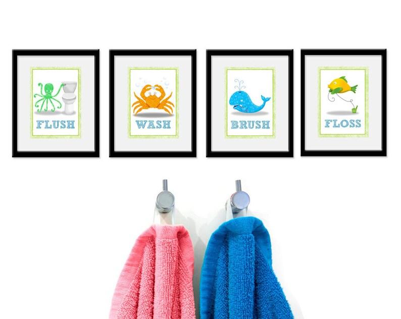 Bathroom Sea theme Kids Art  Set of Four Bathroom Decor image 0