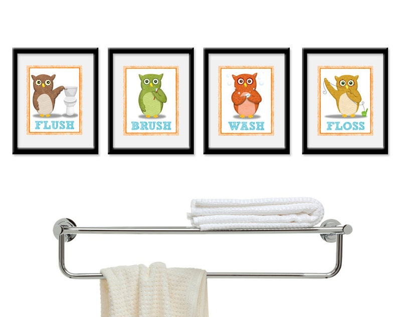Bathroom Decor  Owl Theme Children's  Bathroom Art  Kids image 0