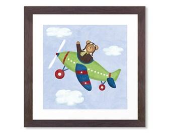 Airplane Nursery Art - Teddy Bear Aviator - 12 x 12 - Children's Airplane Art Print - Airplane Wall Decor UNFRAMED