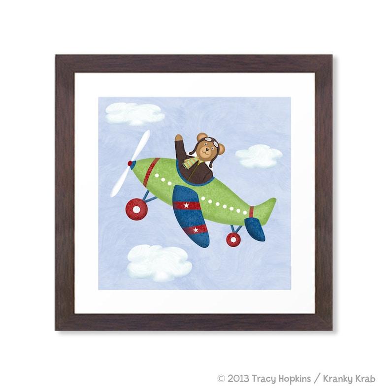 Airplane Nursery Art  Teddy Bear Aviator  12 x 12  image 0