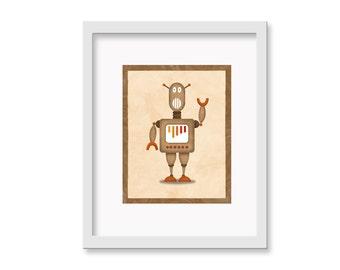 """Robot Print """"Claud"""" - 11"""" x 14"""" Children's Decor Wall Art Print - Children's Retro Robot Theme Room Decor"""