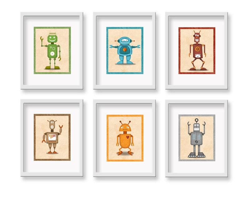 Kids Robot Art Prints  8 x 10 Set of 6 Robot image 0