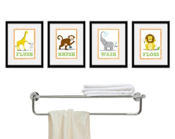 Jungle Bathroom Kids Art Set Of Four 5 X 7 Bathroom Decor Etsy