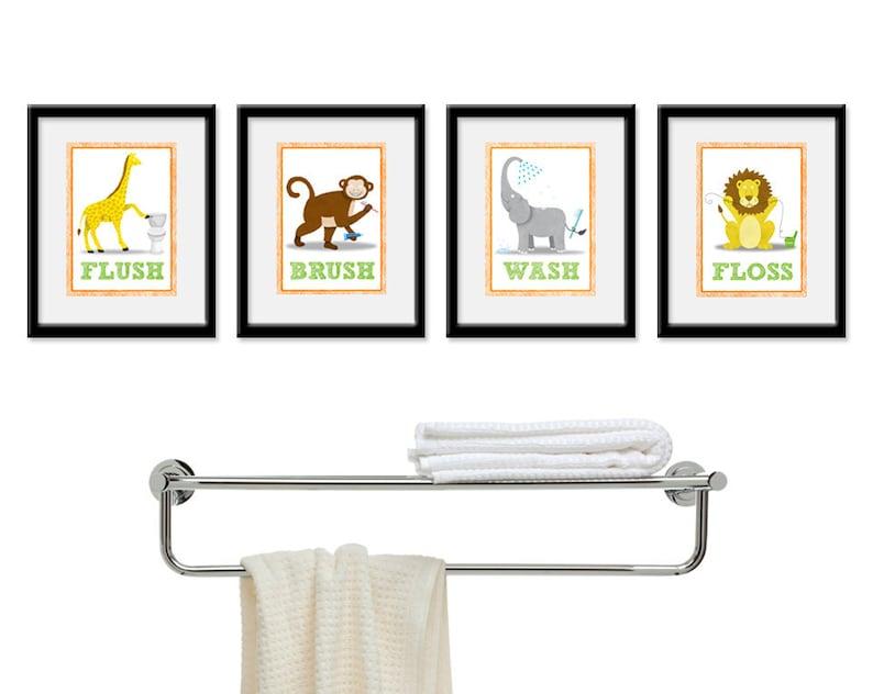Jungle Bathroom Kids Art  Set of Four 5 x 7 Bathroom Decor image 0