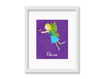 Personalized Fairy -  Children's Decor Nursery Wall Art - Butterfly Fairy Wall Art Blond - 8 x 10 Print