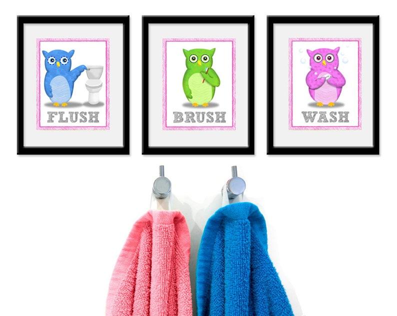 Bathroom Owls Kids Art  Set of Three 8 x 10 Bathroom Decor image 0