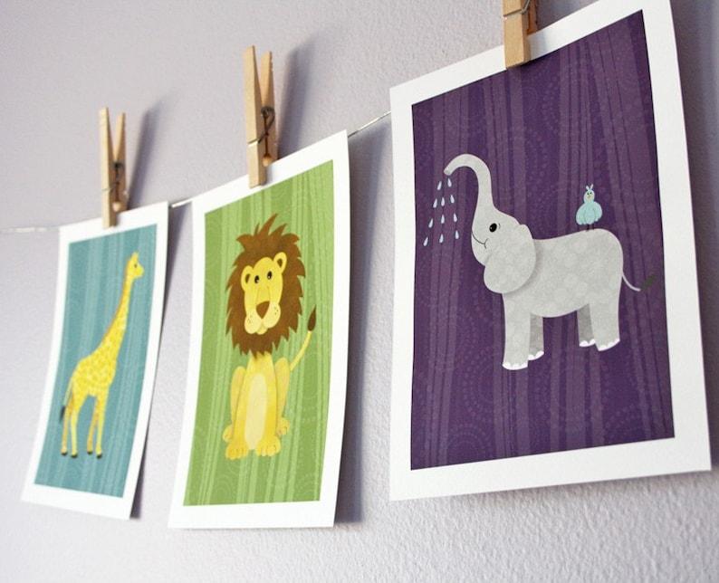 3 piece Jungle Safari  Retro colors  5 x 7 Archival Giclee image 0